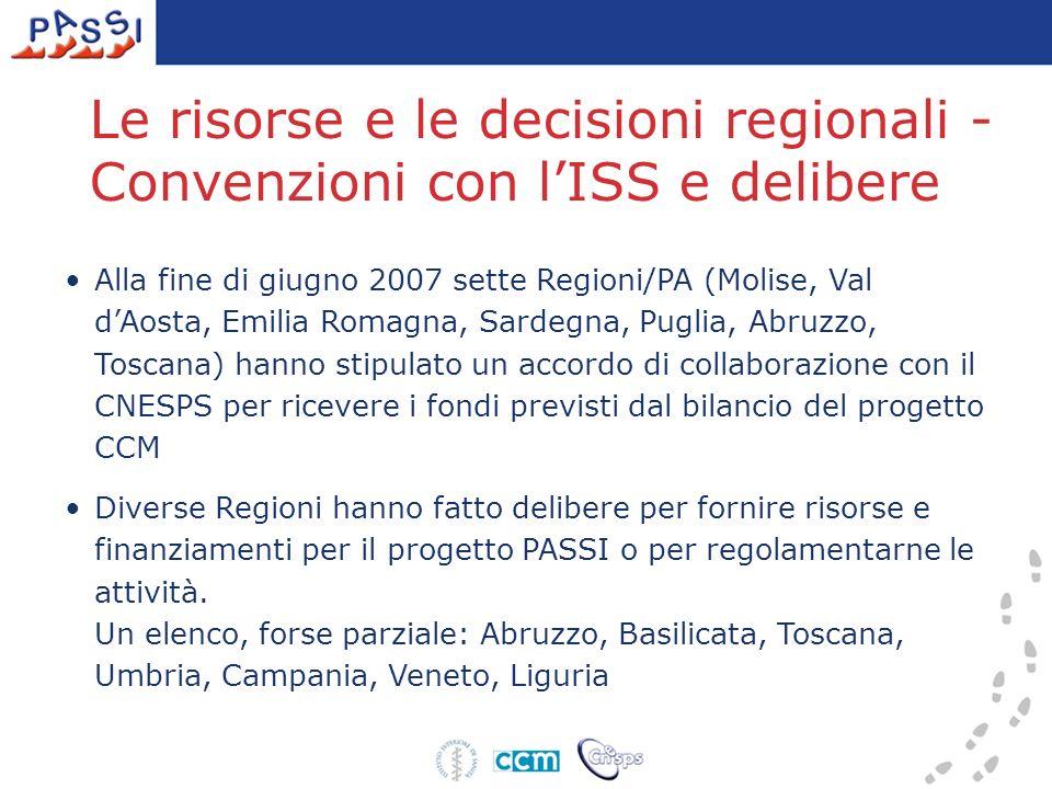 Le risorse e le decisioni regionali - Convenzioni con lISS e delibere Alla fine di giugno 2007 sette Regioni/PA (Molise, Val dAosta, Emilia Romagna, Sardegna, Puglia, Abruzzo, Toscana) hanno stipulato un accordo di collaborazione con il CNESPS per ricevere i fondi previsti dal bilancio del progetto CCM Diverse Regioni hanno fatto delibere per fornire risorse e finanziamenti per il progetto PASSI o per regolamentarne le attività.