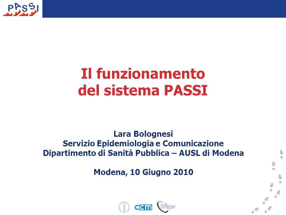 Il funzionamento del sistema PASSI Lara Bolognesi Servizio Epidemiologia e Comunicazione Dipartimento di Sanità Pubblica – AUSL di Modena Modena, 10 G