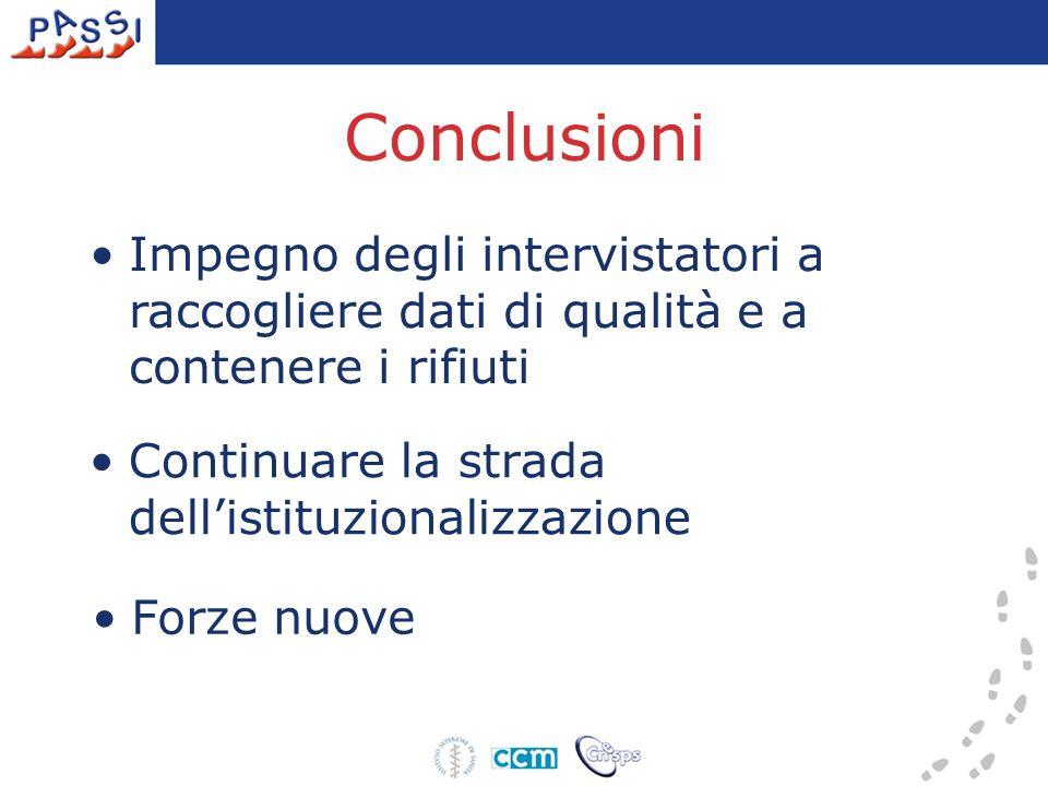 Conclusioni Continuare la strada dellistituzionalizzazione Impegno degli intervistatori a raccogliere dati di qualità e a contenere i rifiuti Forze nu