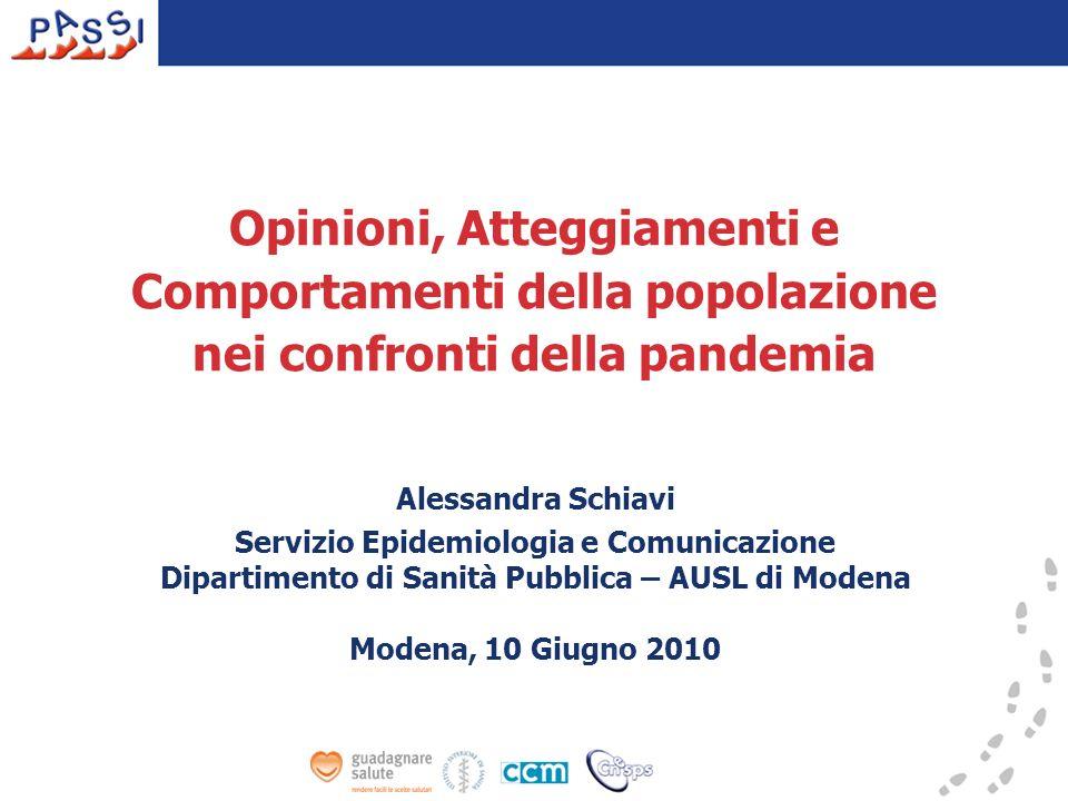 Opinioni, Atteggiamenti e Comportamenti della popolazione nei confronti della pandemia Alessandra Schiavi Servizio Epidemiologia e Comunicazione Dipar