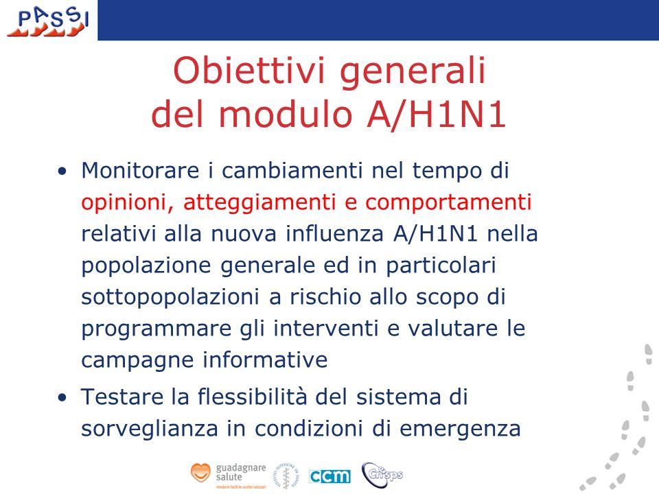 Obiettivi generali del modulo A/H1N1 Monitorare i cambiamenti nel tempo di opinioni, atteggiamenti e comportamenti relativi alla nuova influenza A/H1N