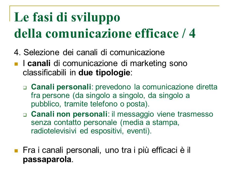 Le fasi di sviluppo della comunicazione efficace / 4 4. Selezione dei canali di comunicazione I canali di comunicazione di marketing sono classificabi