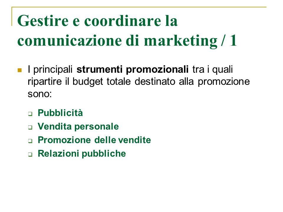 Gestire e coordinare la comunicazione di marketing / 1 I principali strumenti promozionali tra i quali ripartire il budget totale destinato alla promo