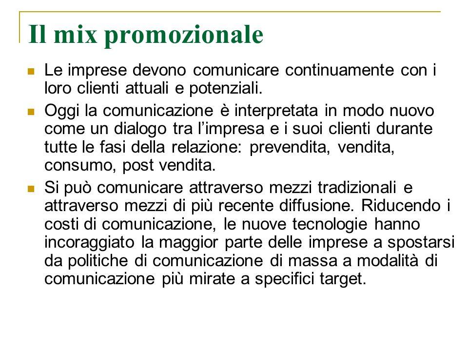 Il mix promozionale Le imprese devono comunicare continuamente con i loro clienti attuali e potenziali. Oggi la comunicazione è interpretata in modo n