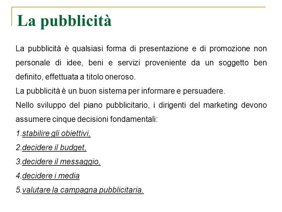 La pubblicità La pubblicità è qualsiasi forma di presentazione e di promozione non personale di idee, beni e servizi proveniente da un soggetto ben de