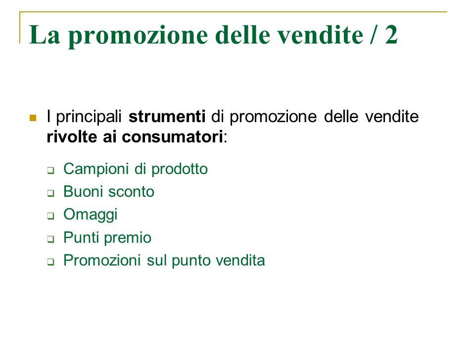 La promozione delle vendite / 2 I principali strumenti di promozione delle vendite rivolte ai consumatori: Campioni di prodotto Buoni sconto Omaggi Pu