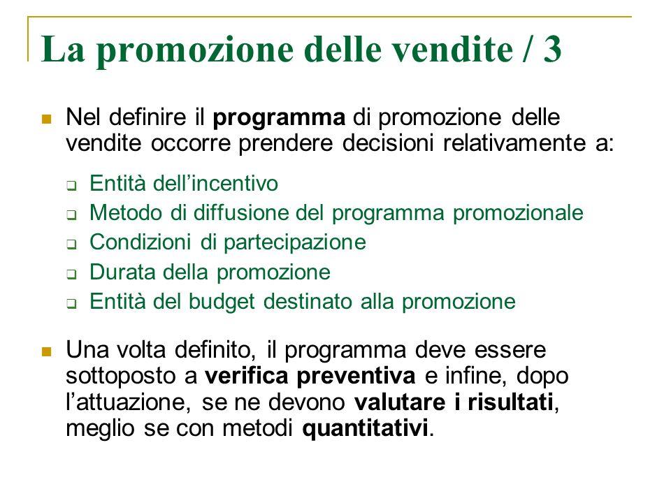 La promozione delle vendite / 3 Nel definire il programma di promozione delle vendite occorre prendere decisioni relativamente a: Entità dellincentivo