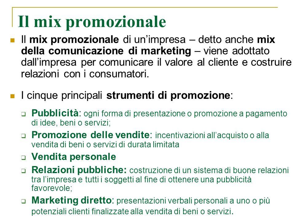 Il mix promozionale Il mix promozionale di unimpresa – detto anche mix della comunicazione di marketing – viene adottato dallimpresa per comunicare il