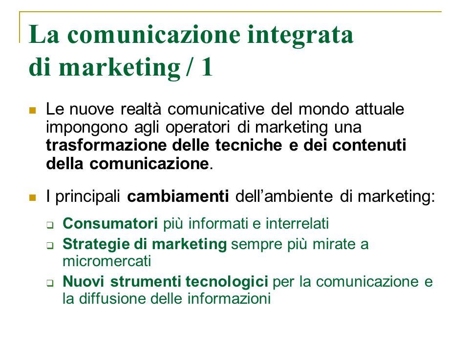 La comunicazione integrata di marketing / 1 Le nuove realtà comunicative del mondo attuale impongono agli operatori di marketing una trasformazione de