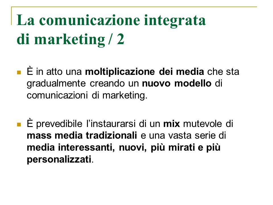La comunicazione integrata di marketing / 2 È in atto una moltiplicazione dei media che sta gradualmente creando un nuovo modello di comunicazioni di