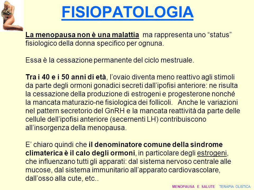 FISIOPATOLOGIA La menopausa non è una malattia ma rappresenta uno status fisiologico della donna specifico per ognuna. Essa è la cessazione permanente