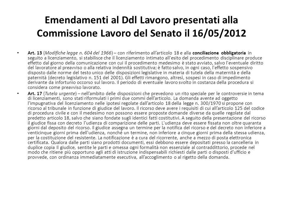 Emendamenti al Ddl Lavoro presentati alla Commissione Lavoro del Senato il 16/05/2012 Art.