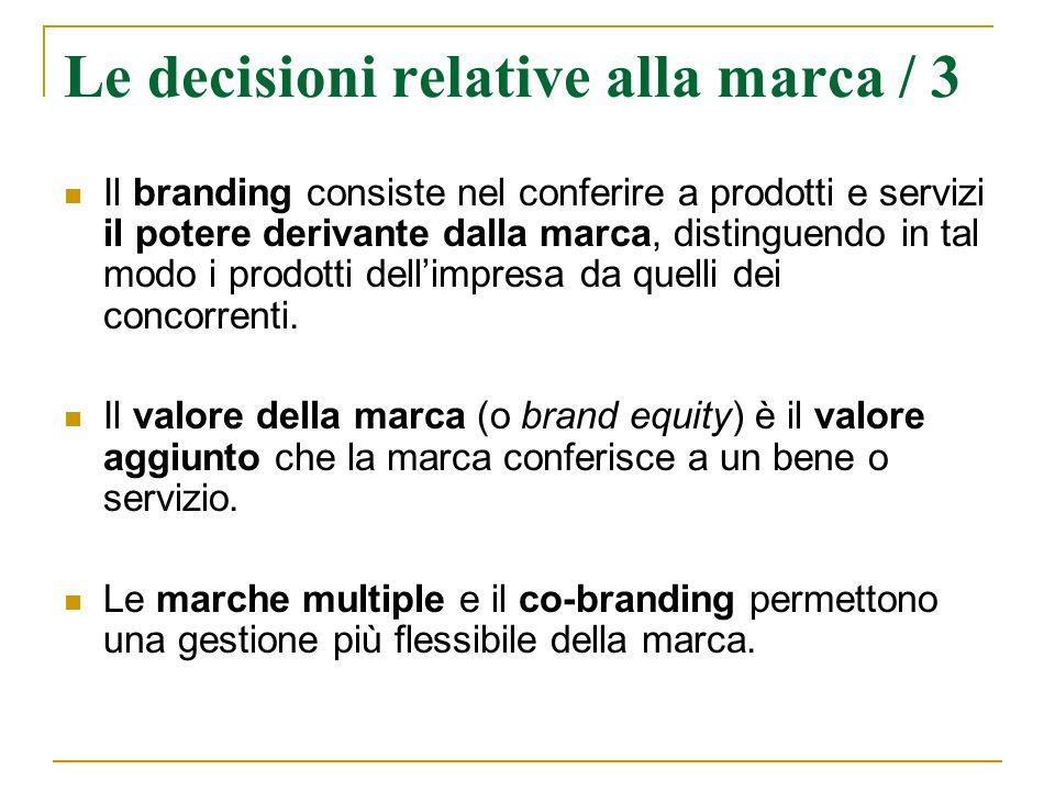 Le decisioni relative alla marca / 3 Il branding consiste nel conferire a prodotti e servizi il potere derivante dalla marca, distinguendo in tal modo