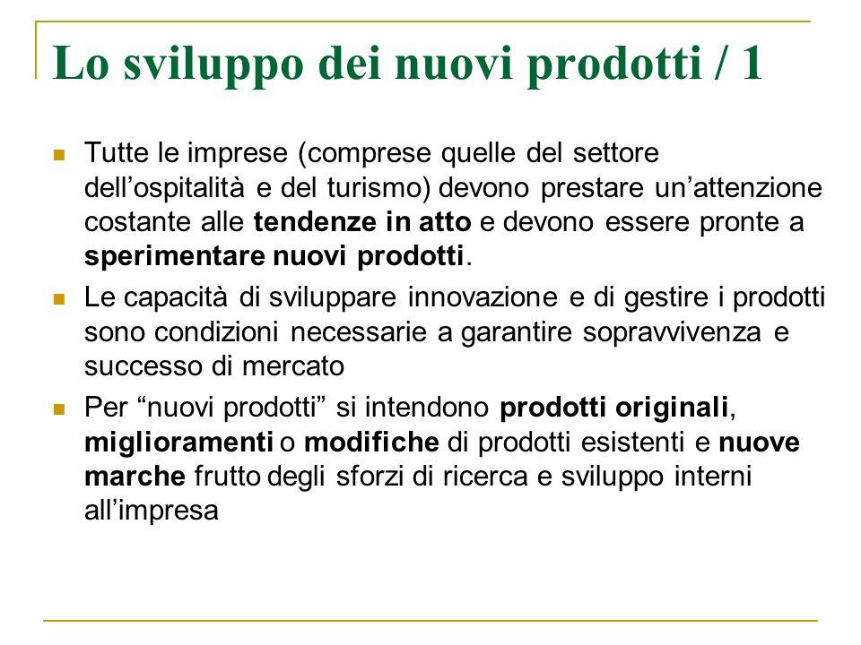 Lo sviluppo dei nuovi prodotti / 1 Tutte le imprese (comprese quelle del settore dellospitalità e del turismo) devono prestare unattenzione costante a