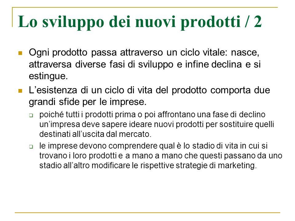 Lo sviluppo dei nuovi prodotti / 2 Ogni prodotto passa attraverso un ciclo vitale: nasce, attraversa diverse fasi di sviluppo e infine declina e si es