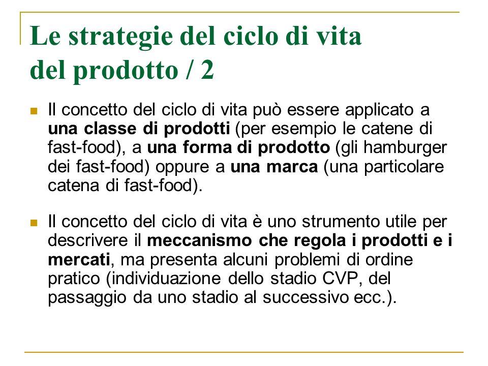 Le strategie del ciclo di vita del prodotto / 2 Il concetto del ciclo di vita può essere applicato a una classe di prodotti (per esempio le catene di