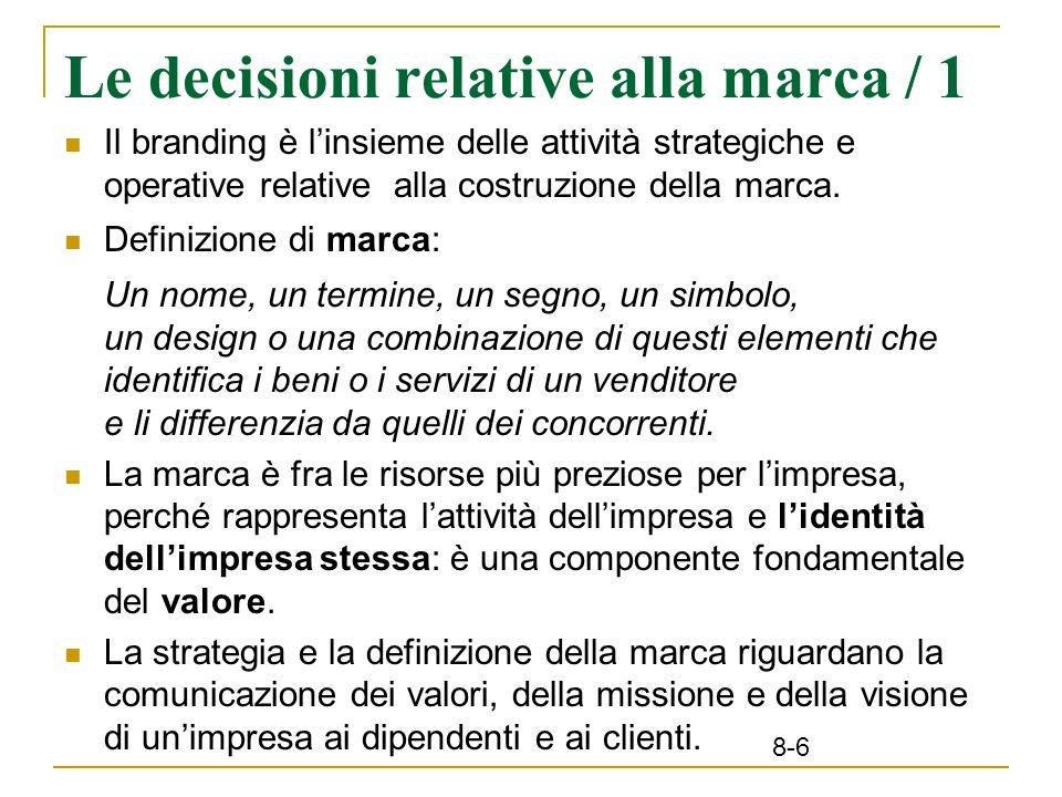 8-6 Le decisioni relative alla marca / 1 Il branding è linsieme delle attività strategiche e operative relative alla costruzione della marca. Definizi