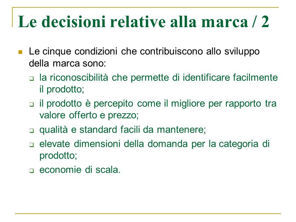 Le decisioni relative alla marca / 2 Le cinque condizioni che contribuiscono allo sviluppo della marca sono: la riconoscibilità che permette di identi