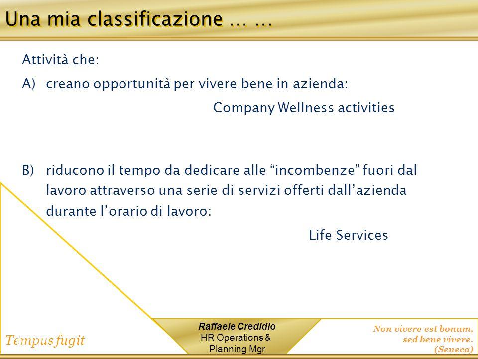 Non vivere est bonum, sed bene vivere. (Seneca) Tempus fugit Raffaele Credidio HR Operations & Planning Mgr 1/12/2014 Una mia classificazione … … Atti