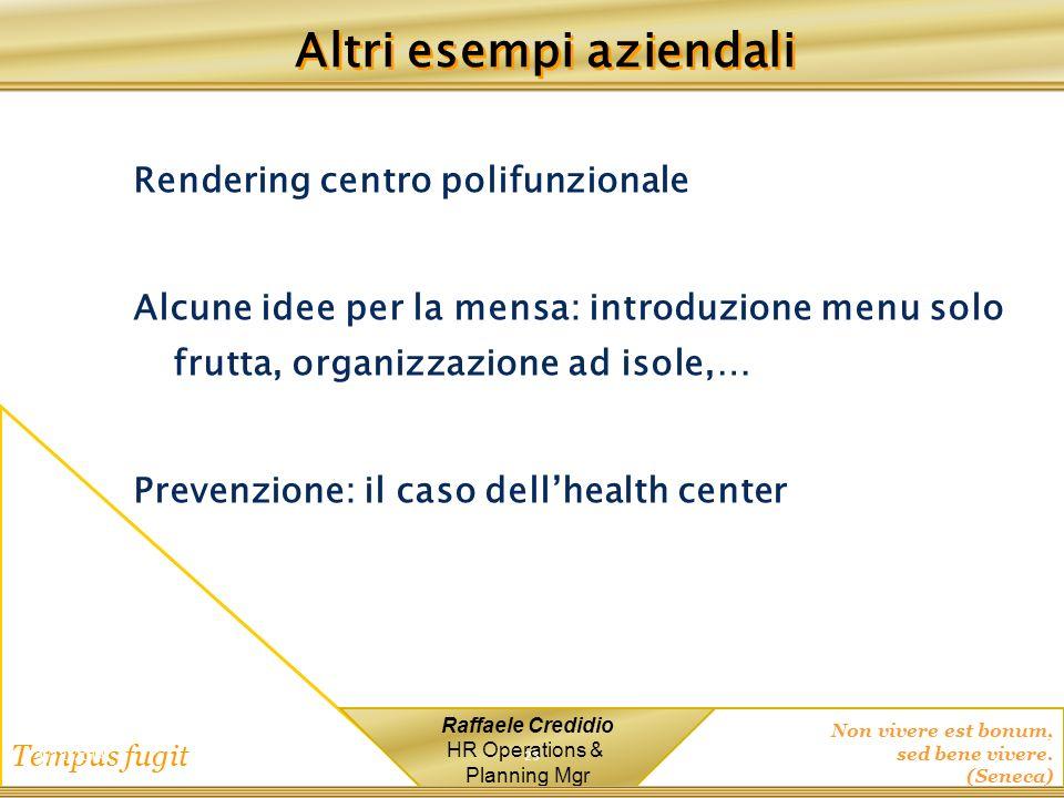 Non vivere est bonum, sed bene vivere. (Seneca) Tempus fugit Raffaele Credidio HR Operations & Planning Mgr Rendering centro polifunzionale Alcune ide