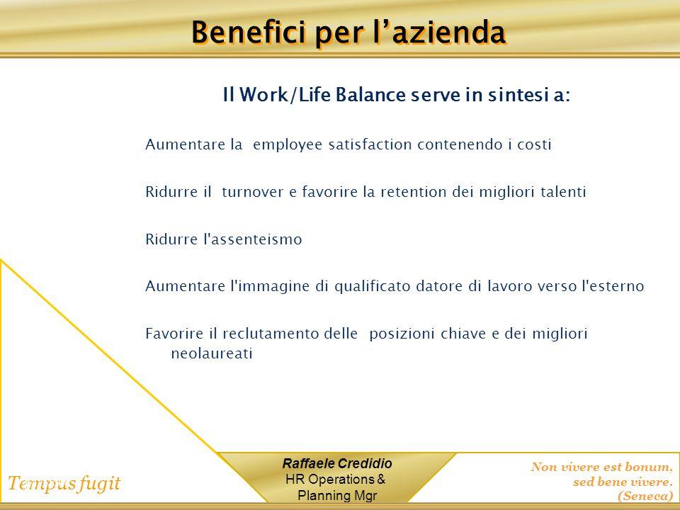 Non vivere est bonum, sed bene vivere. (Seneca) Tempus fugit Raffaele Credidio HR Operations & Planning Mgr 1/12/2014 Il Work/Life Balance serve in si