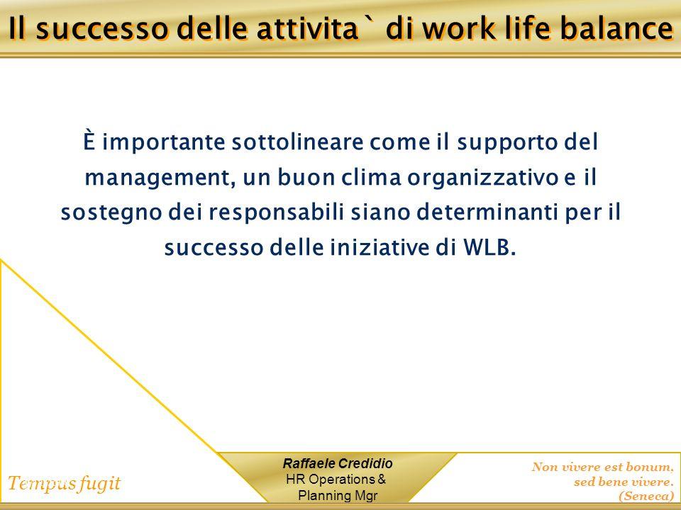 Non vivere est bonum, sed bene vivere. (Seneca) Tempus fugit Raffaele Credidio HR Operations & Planning Mgr 1/12/2014 È importante sottolineare come i