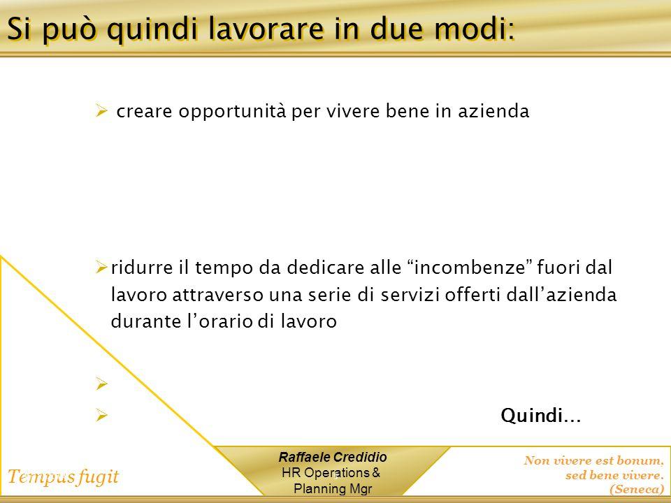 Non vivere est bonum, sed bene vivere. (Seneca) Tempus fugit Raffaele Credidio HR Operations & Planning Mgr Si può quindi lavorare in due modi: creare