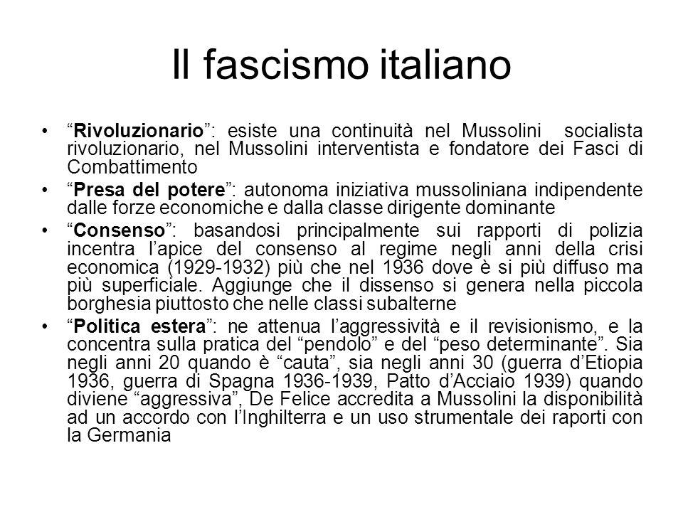 Il fascismo italiano Rivoluzionario: esiste una continuità nel Mussolini socialista rivoluzionario, nel Mussolini interventista e fondatore dei Fasci