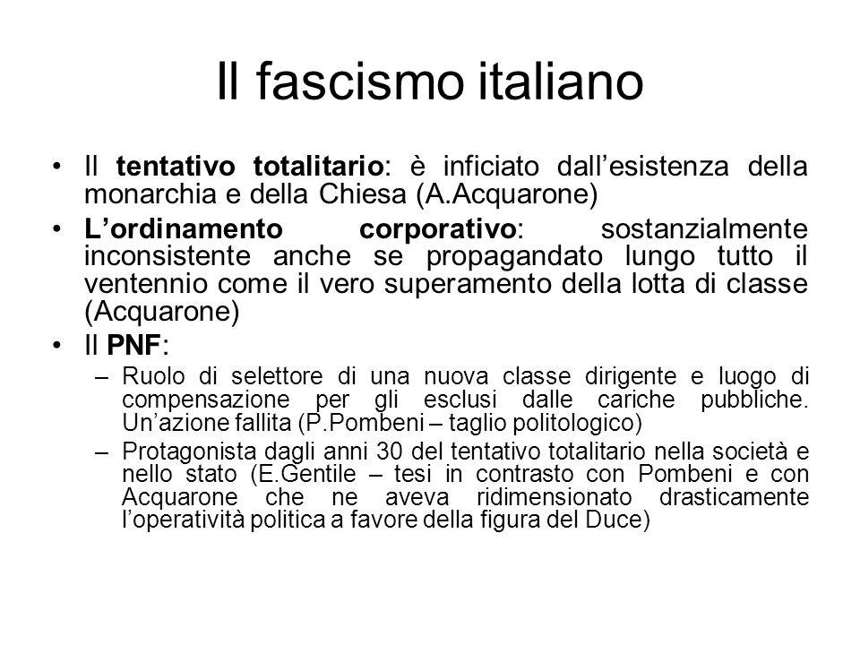 Il fascismo italiano Il tentativo totalitario: è inficiato dallesistenza della monarchia e della Chiesa (A.Acquarone) Lordinamento corporativo: sostan