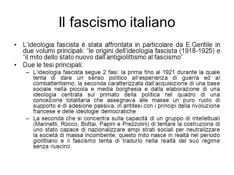 Il fascismo italiano Lideologia fascista è stata affrontata in particolare da E.Gentile in due volumi principali: le origini dellideologia fascista (1