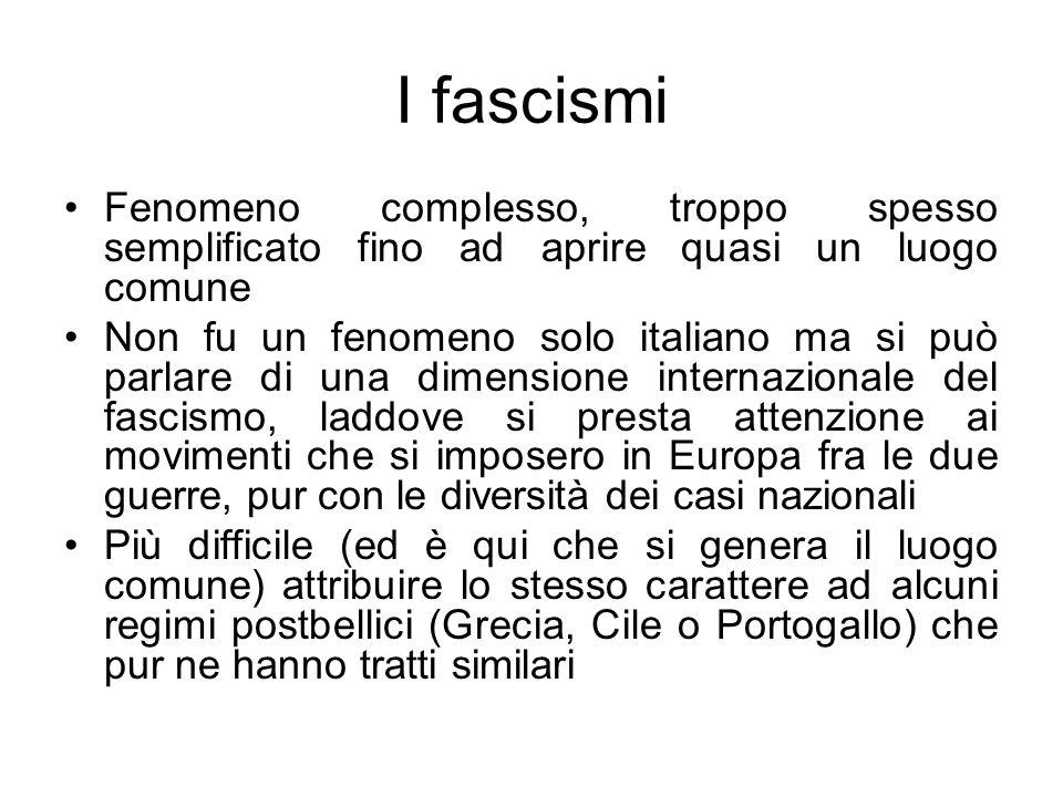 I fascismi Fenomeno complesso, troppo spesso semplificato fino ad aprire quasi un luogo comune Non fu un fenomeno solo italiano ma si può parlare di u