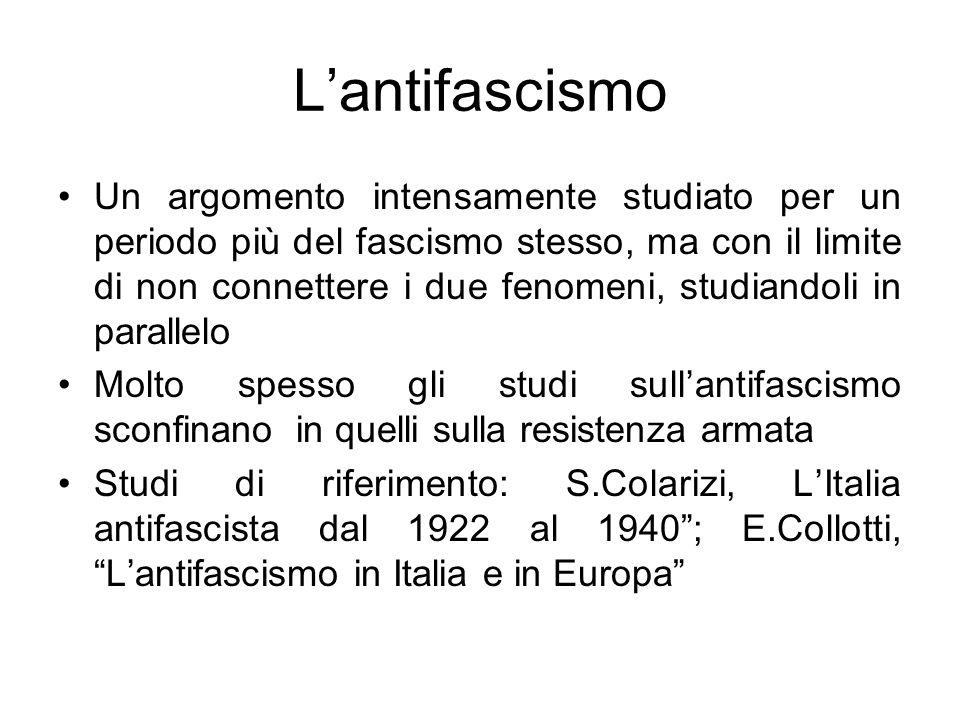 Lantifascismo Un argomento intensamente studiato per un periodo più del fascismo stesso, ma con il limite di non connettere i due fenomeni, studiandol