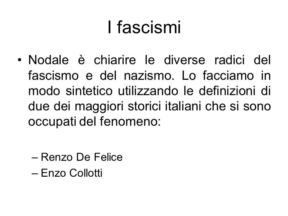 I fascismi Nodale è chiarire le diverse radici del fascismo e del nazismo. Lo facciamo in modo sintetico utilizzando le definizioni di due dei maggior