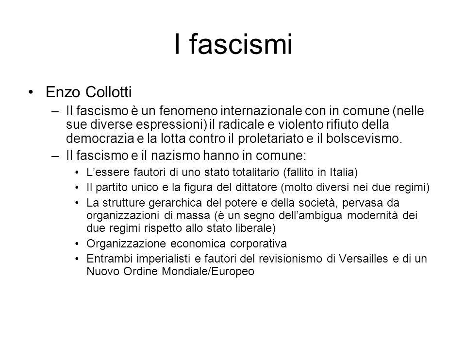 I fascismi Enzo Collotti –Il fascismo è un fenomeno internazionale con in comune (nelle sue diverse espressioni) il radicale e violento rifiuto della