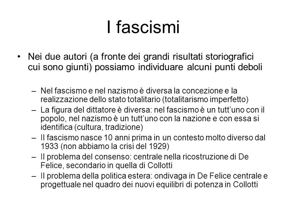 I fascismi Nei due autori (a fronte dei grandi risultati storiografici cui sono giunti) possiamo individuare alcuni punti deboli –Nel fascismo e nel n