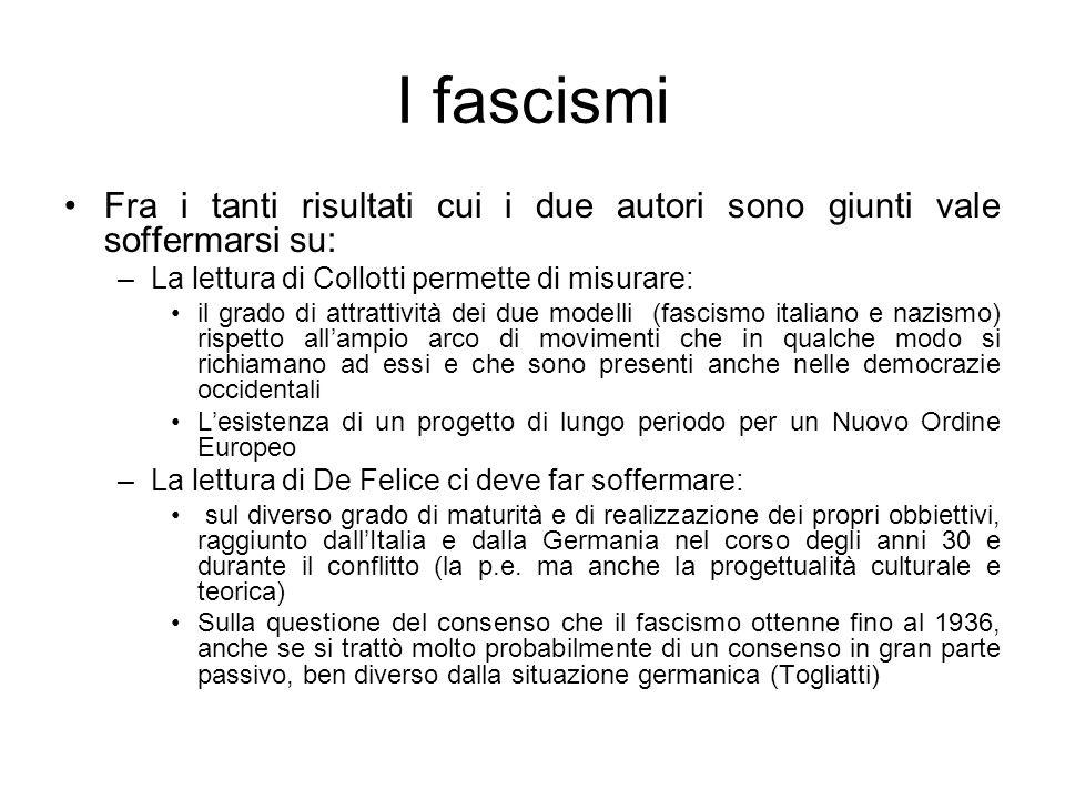 I fascismi Fra i tanti risultati cui i due autori sono giunti vale soffermarsi su: –La lettura di Collotti permette di misurare: il grado di attrattiv