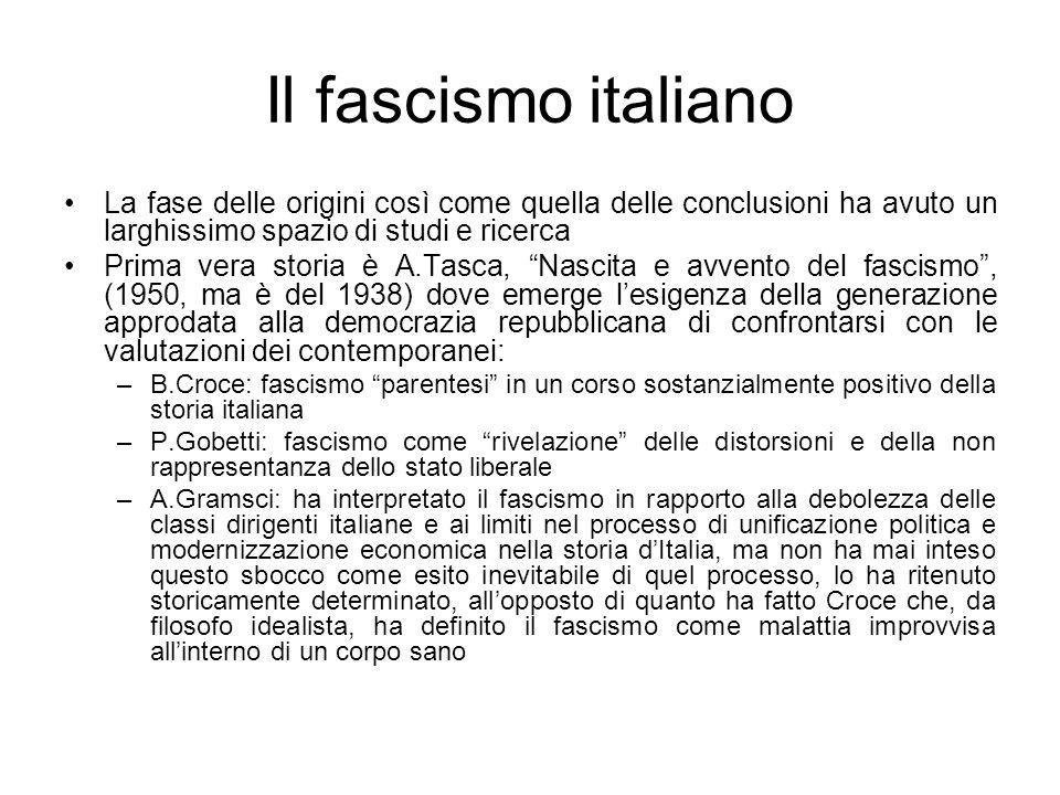 Il fascismo italiano La fase delle origini così come quella delle conclusioni ha avuto un larghissimo spazio di studi e ricerca Prima vera storia è A.