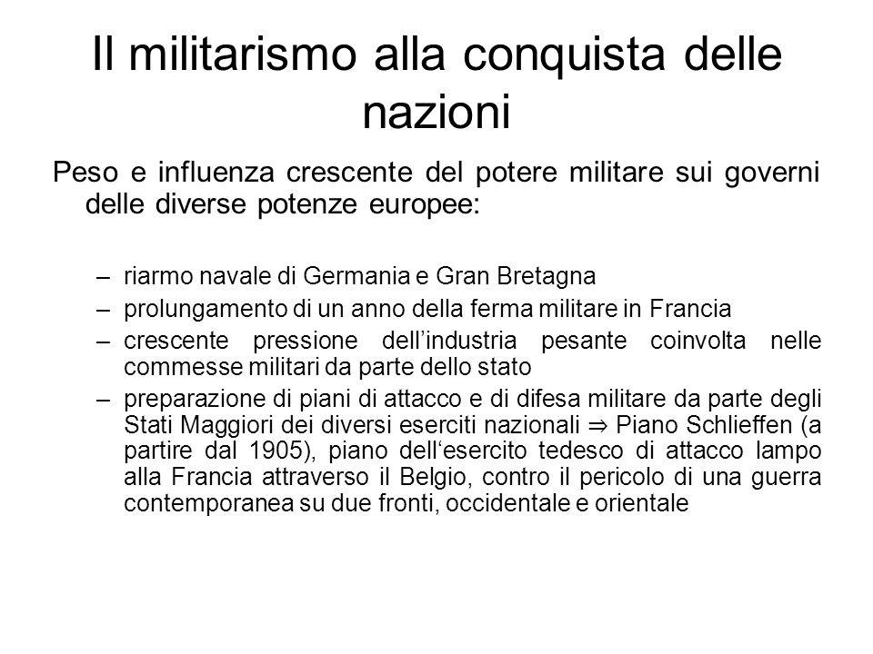 Il militarismo alla conquista delle nazioni Peso e influenza crescente del potere militare sui governi delle diverse potenze europee: –riarmo navale d