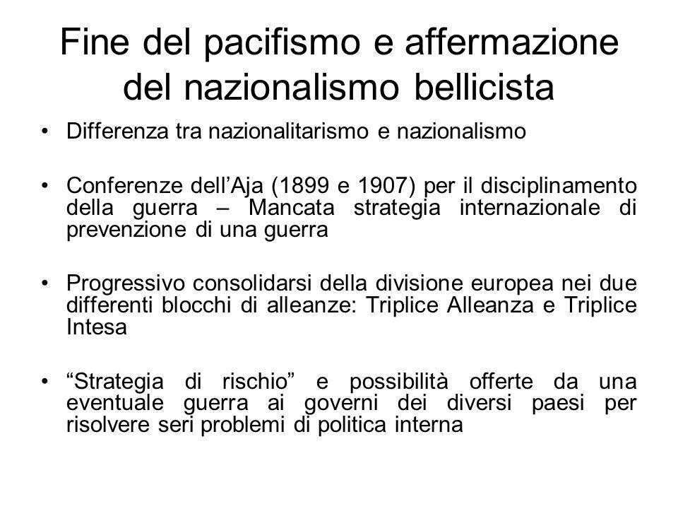 Fine del pacifismo e affermazione del nazionalismo bellicista Differenza tra nazionalitarismo e nazionalismo Conferenze dellAja (1899 e 1907) per il d
