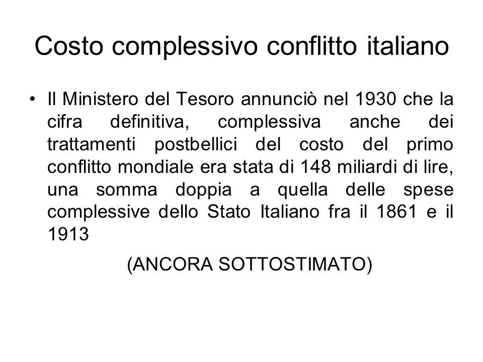 Costo complessivo conflitto italiano Il Ministero del Tesoro annunciò nel 1930 che la cifra definitiva, complessiva anche dei trattamenti postbellici