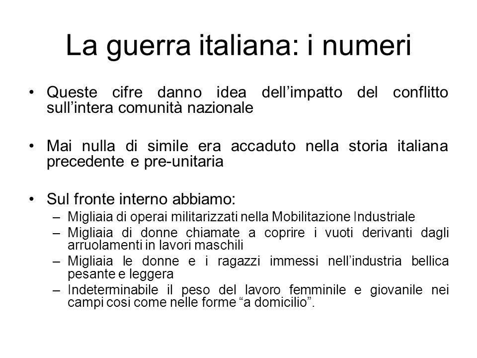 La guerra italiana: i numeri Queste cifre danno idea dellimpatto del conflitto sullintera comunità nazionale Mai nulla di simile era accaduto nella st