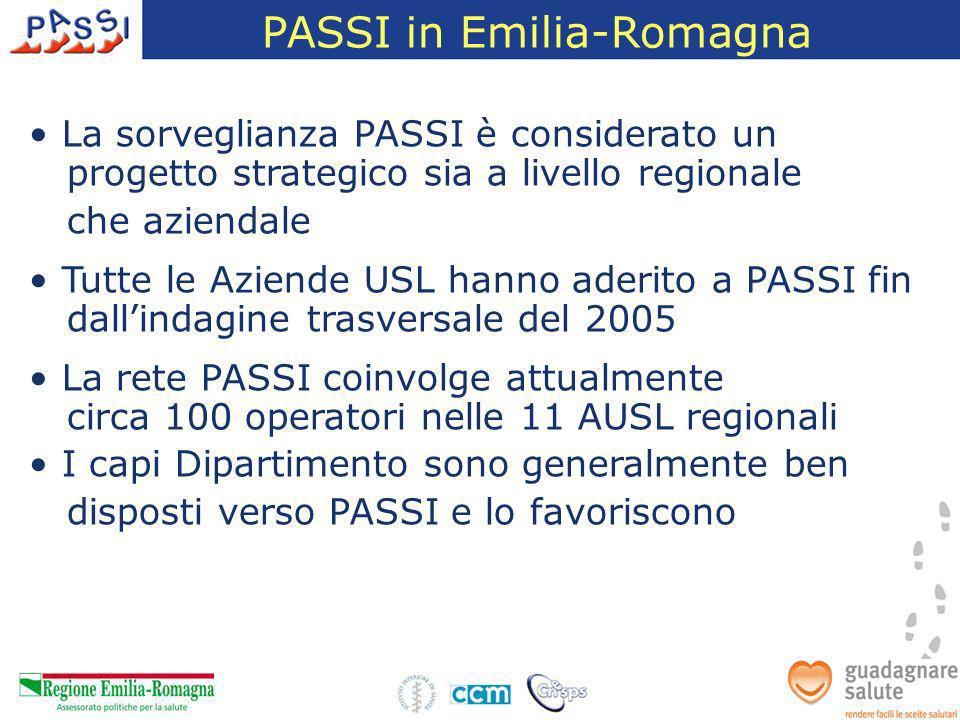 PASSI in Emilia-Romagna La sorveglianza PASSI è considerato un progetto strategico sia a livello regionale che aziendale Tutte le Aziende USL hanno ad