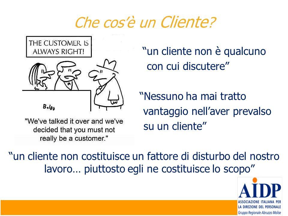un cliente non è qualcuno con cui discutere Nessuno ha mai tratto vantaggio nellaver prevalso su un cliente un cliente non costituisce un fattore di d