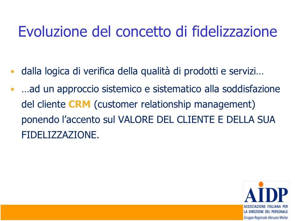 Evoluzione del concetto di fidelizzazione dalla logica di verifica della qualità di prodotti e servizi… …ad un approccio sistemico e sistematico alla