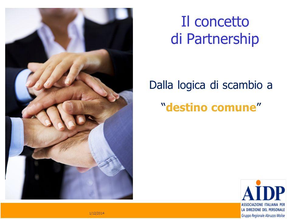 Il concetto di Partnership 1/12/2014 Dalla logica di scambio a destino comune