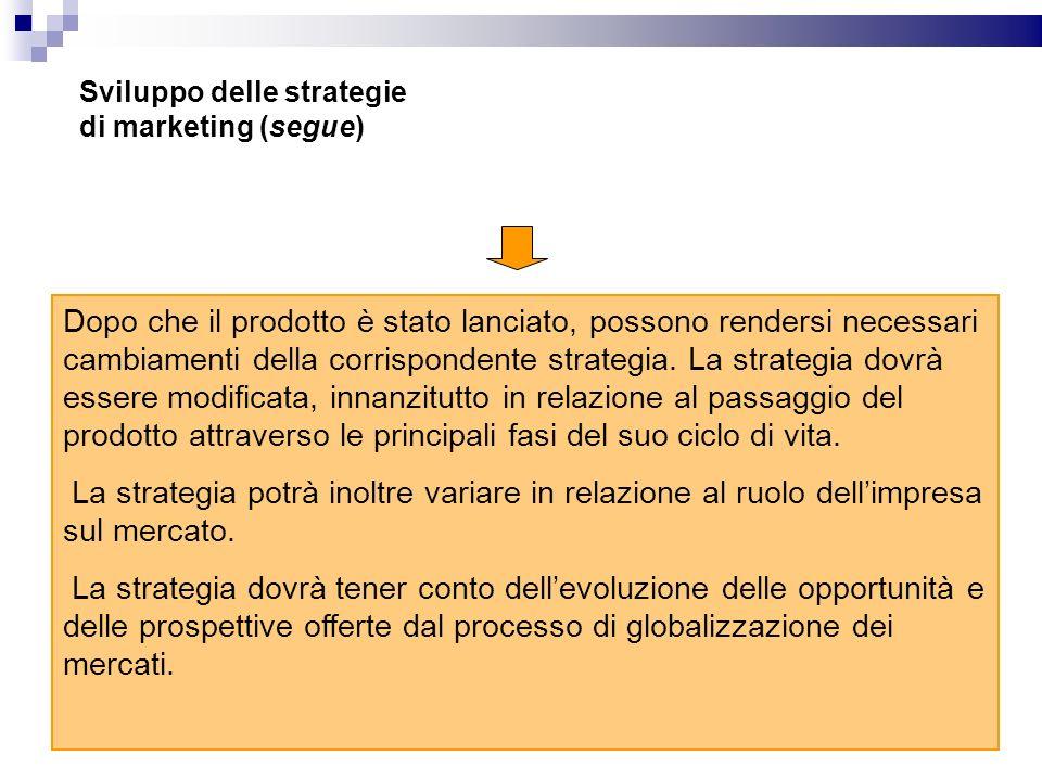 Sviluppo delle strategie di marketing (segue) Dopo che il prodotto è stato lanciato, possono rendersi necessari cambiamenti della corrispondente strat