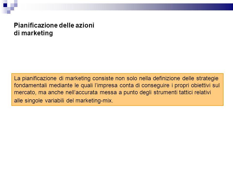 Pianificazione delle azioni di marketing La pianificazione di marketing consiste non solo nella definizione delle strategie fondamentali mediante le q