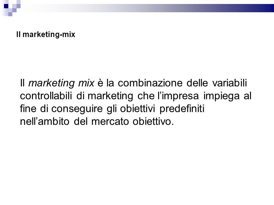 Il marketing-mix Il marketing mix è la combinazione delle variabili controllabili di marketing che limpresa impiega al fine di conseguire gli obiettiv