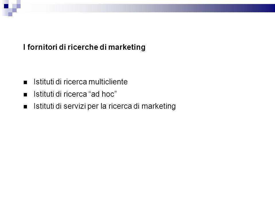 I fornitori di ricerche di marketing Istituti di ricerca multicliente Istituti di ricerca ad hoc Istituti di servizi per la ricerca di marketing
