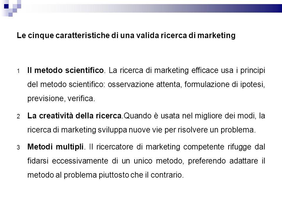 Le cinque caratteristiche di una valida ricerca di marketing 1 Il metodo scientifico. La ricerca di marketing efficace usa i principi del metodo scien